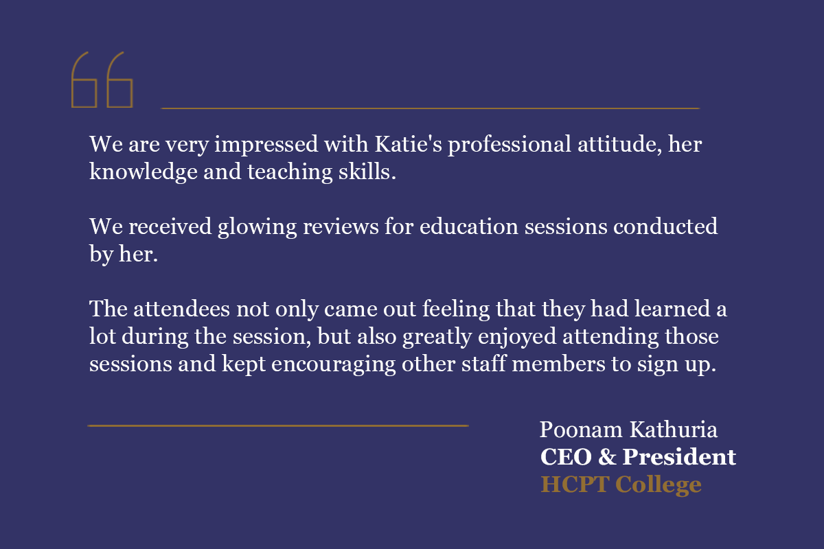 Quote card with positive feedback regarding Katie's performance