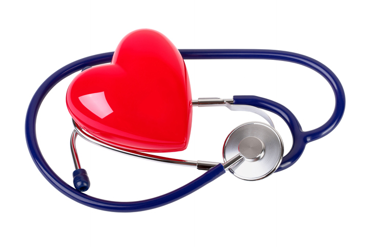 Plastic heart and stethoscope