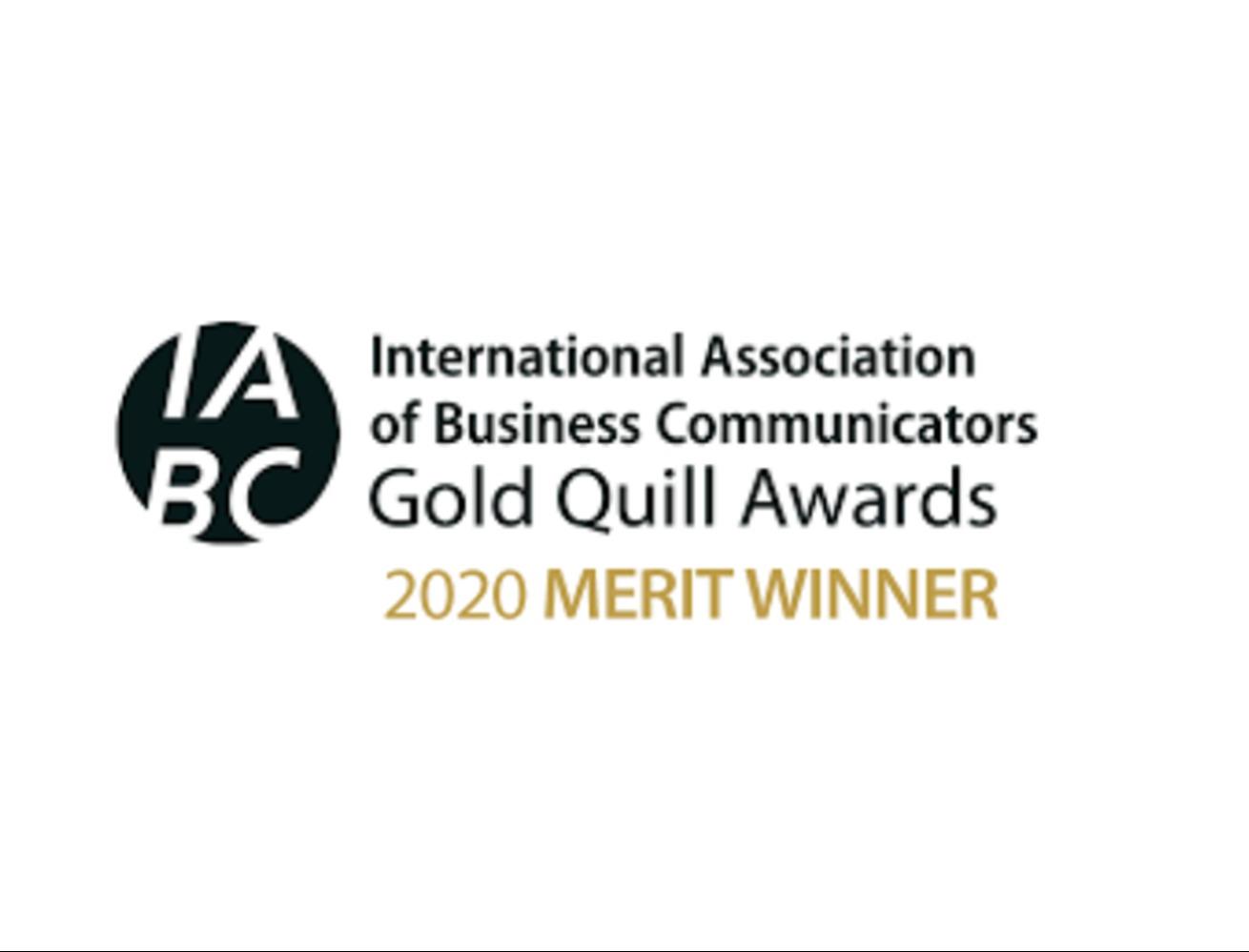 IABC 2020 Gold Quill Winner