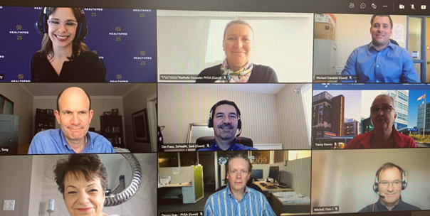 A photo of a video conference call with 9 healthcare executives